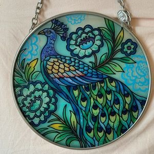 AMIA PEACOCK HAND PAINTED SUN CATCHER CIRCLE#41919